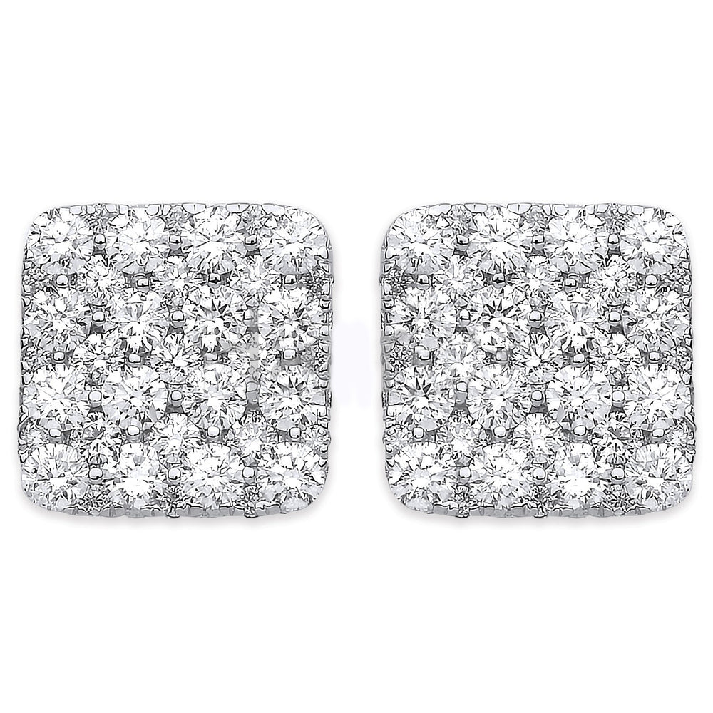18ct White Gold 1.67ct Square Grain Set Drop Earrings