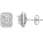 18ct White Gold 0.70ct Emerald Cut Rectangular Stud