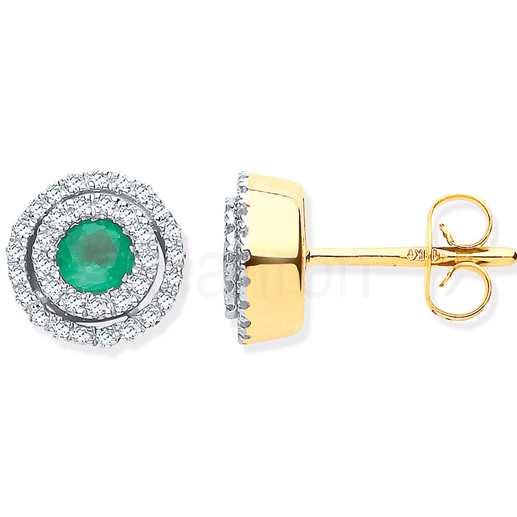 9ct Yellow Gold Double Halo Diamond & Emerald Round Stud Earrings
