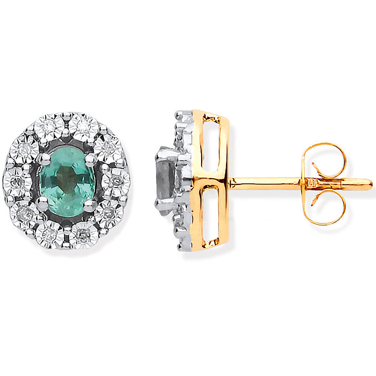 9ct Yellow Gold 0.60ct Emerald & 0.08ct Diamond Oval Stud Earrings