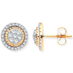 9ct Yellow Gold Multi Circles Stud Diamond 0.36ctw Earrings