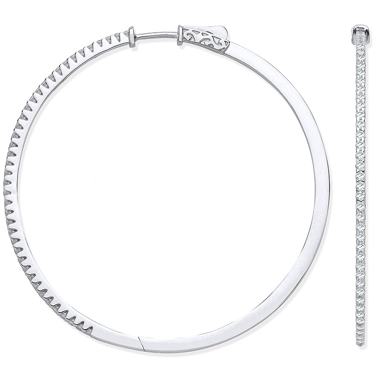 18ct White Gold 1.20ctw Claw Set Hoop Earrings