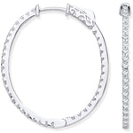 18ct White Gold 1.27ctw Diamond set Inside & Outside Oval Hoops