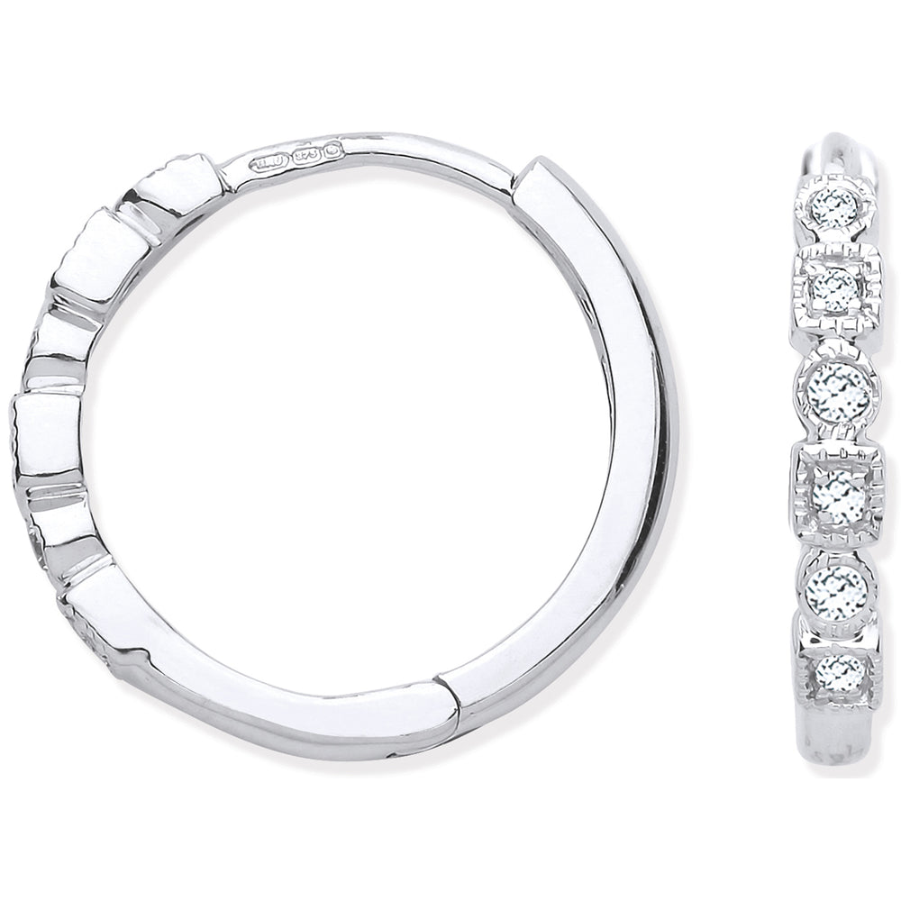 9ct White Gold Round 0.10ctw Diamond Hoops