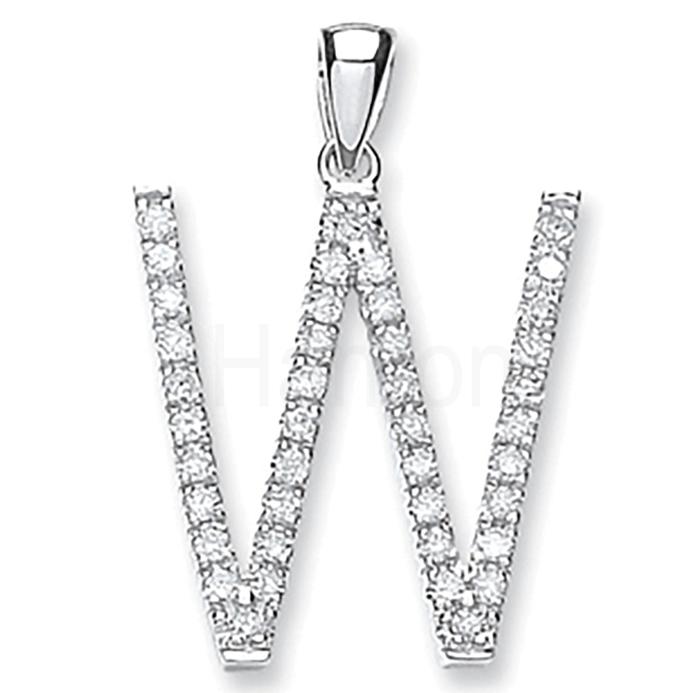 9ct White Gold 0.33ct Diamond W Letter Pendant