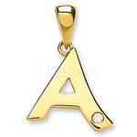 9ct Yellow Gold 0.01ct Diamond A Letter Pendant
