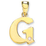9ct Yellow Gold 0.01ct Diamond G Letter Pendant