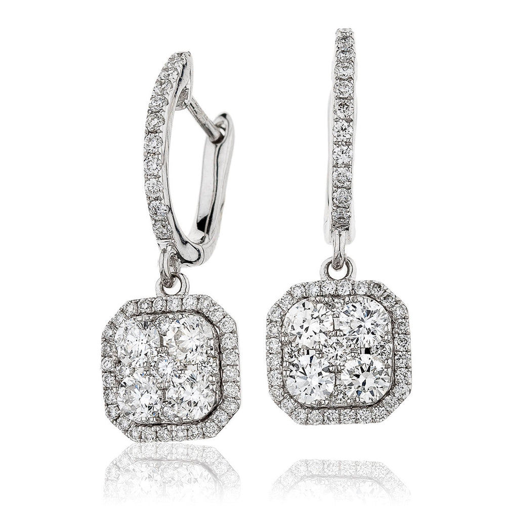 Pavé Drop Cluster Hoops 1.10ct