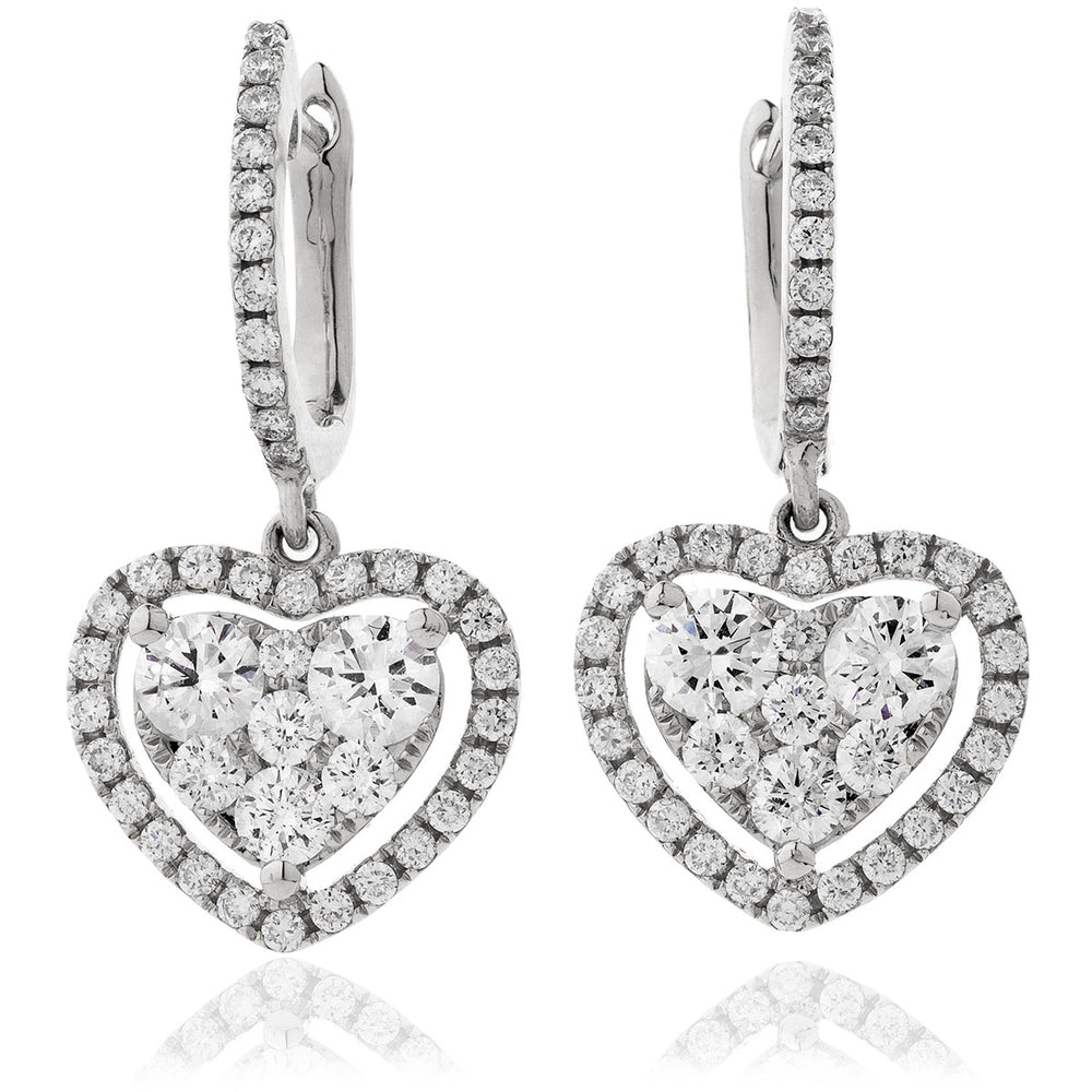 Open Halo Drop Hoops 1.40ct