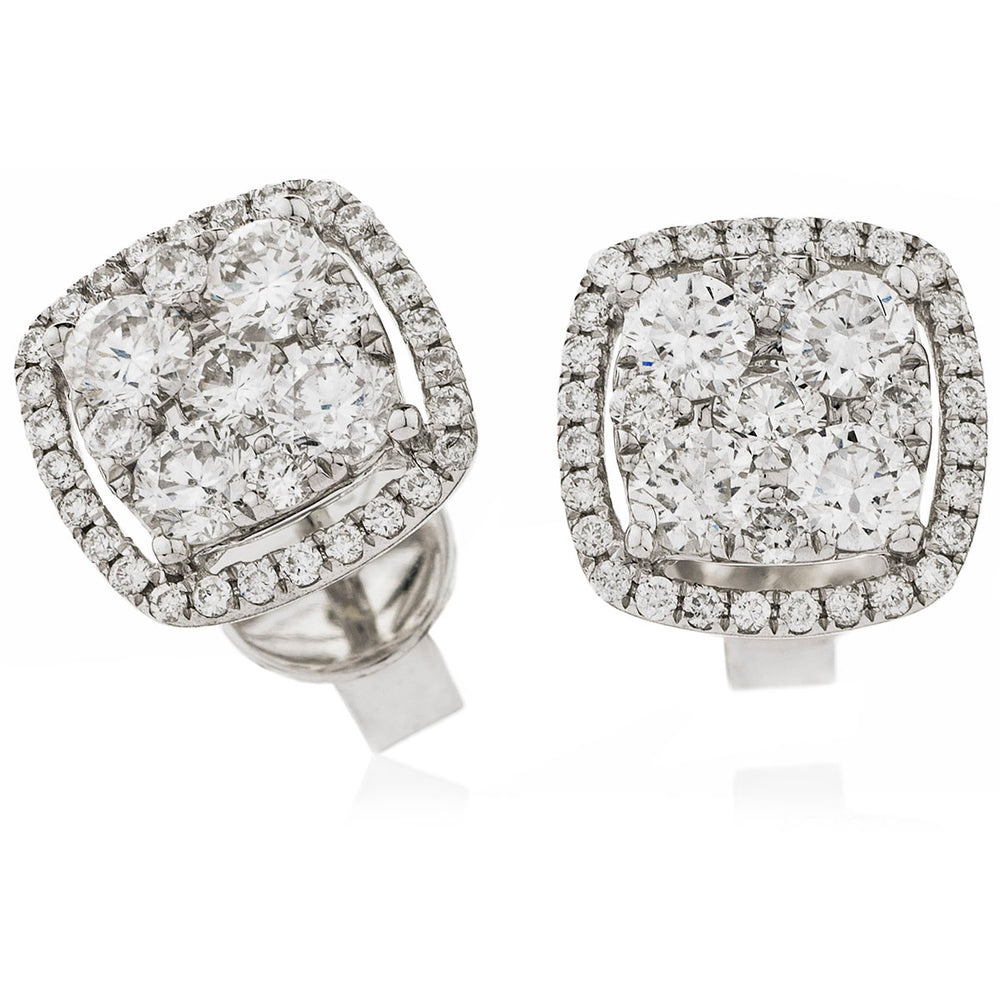 Cushion Shape Pavé Set Studs 1.60ct