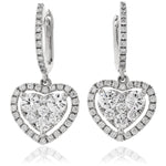 Heart Shape Cluster Drop Hoops 0.80ct