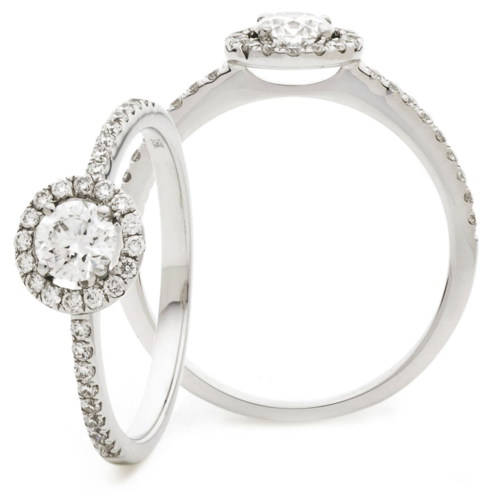 Claw Set Halo Engagement Ring 0.50ct