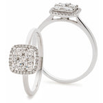 Cushion Shape Cluster Wed Fit Diamond Ring 0.50ct