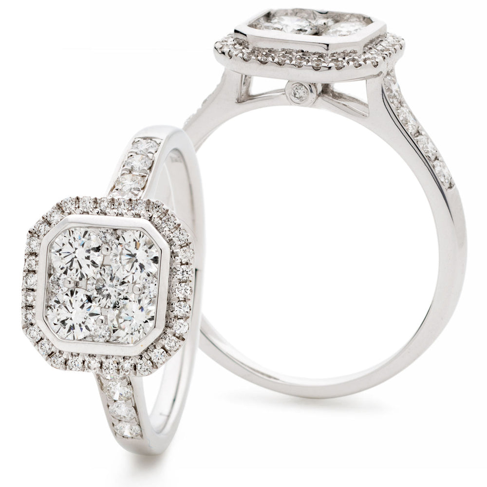Radiant Shape Halo Cluster Ring 0.95ct