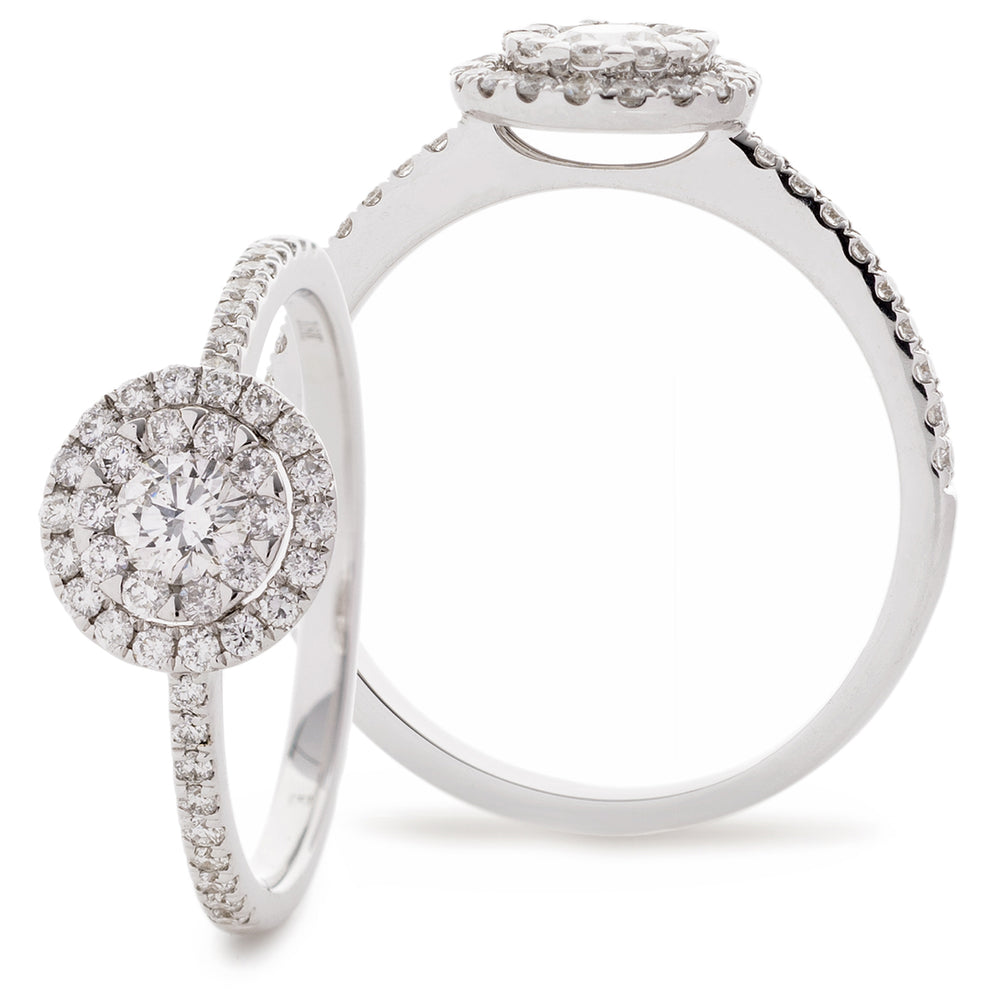Round Cluster Halo Ring 0.50ct