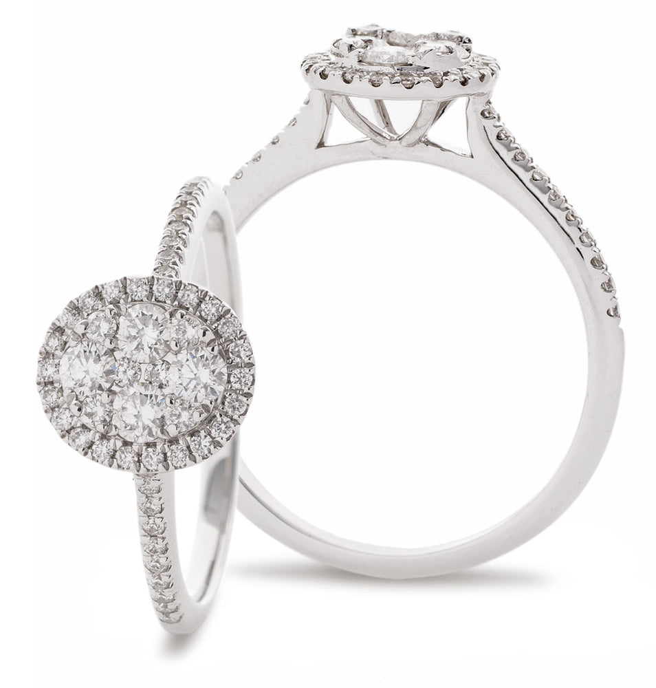 Oval Shape Cluster Ring 0.40ct