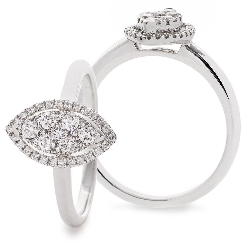 Marquise Shape Cluster Ring 0.45ct