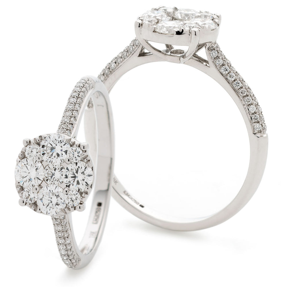 Round Pavé Set Cluster Ring 0.80ct