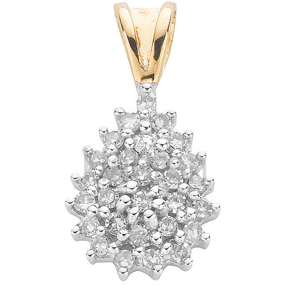 9ct Yellow Gold 0.25ct Diamond Cluster Pendant