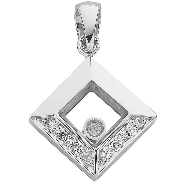 9ct White Gold 0.05ct Floating Diamond Pendant