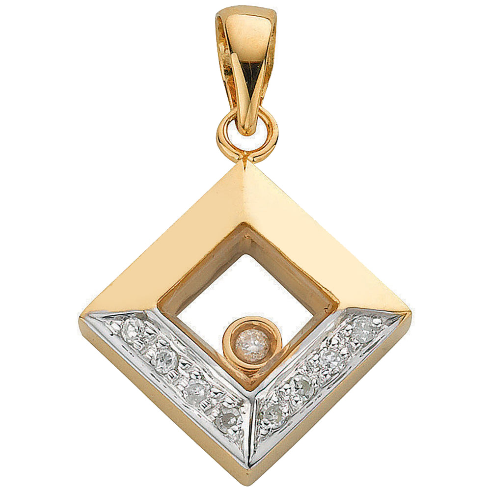 9ct Yellow Gold 0.05ct Floating Diamond Pendant