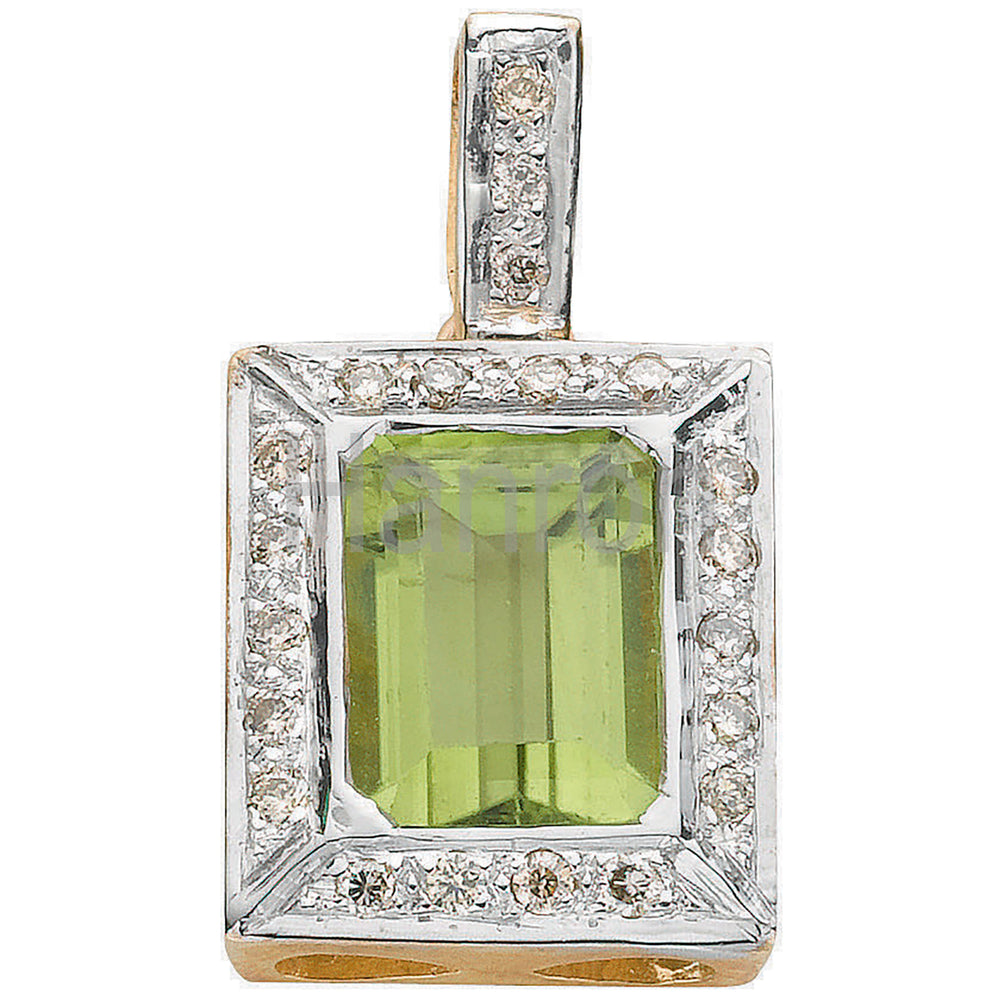 9ct White Gold 0.16ct Diamond & 1.50ct Peridot Pendant