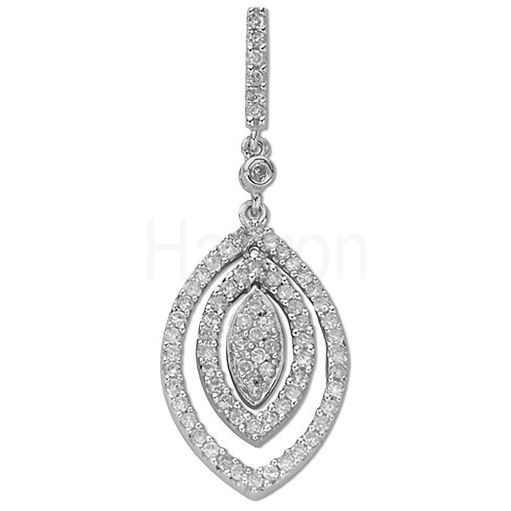 9ct White Gold 0.50ct Diamond Drop Pendant