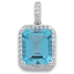 9ct White Gold 0.38ct Diamond & 7.50ct Blue Topaz Pendant