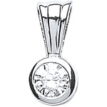 18ct White Gold 0.15ct Rubover Set Diamond Pendant