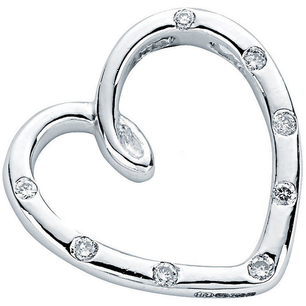 18ct White Gold 0.10ct Diamond Heart Pendant