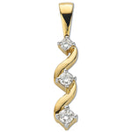 9ct Yellow Gold 0.15ct Diamond Trilogy Pendant