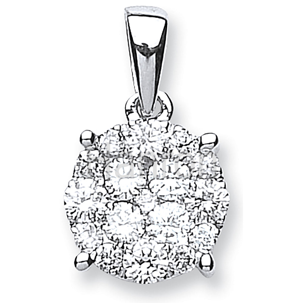 18ct White Gold 0.75ct Diamond Cluster Pendant