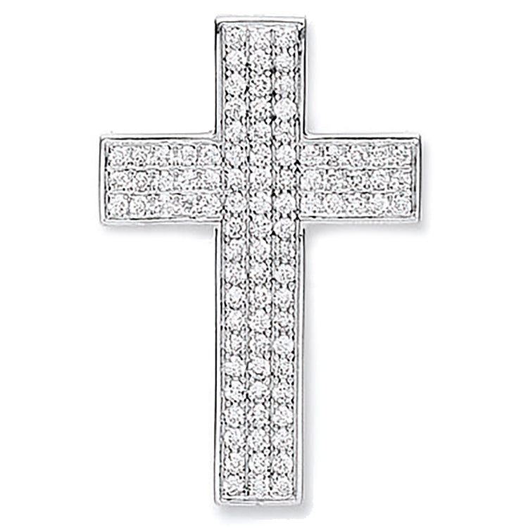 18ct White Gold Pave Set 0.80ct Diamond Cross