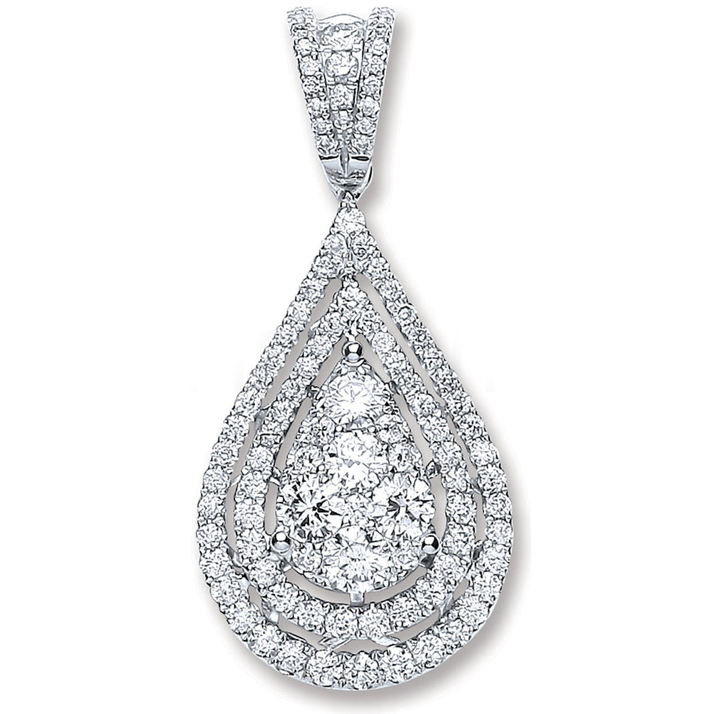 18ct White Gold 1.30ct Diamond Drop Pendant