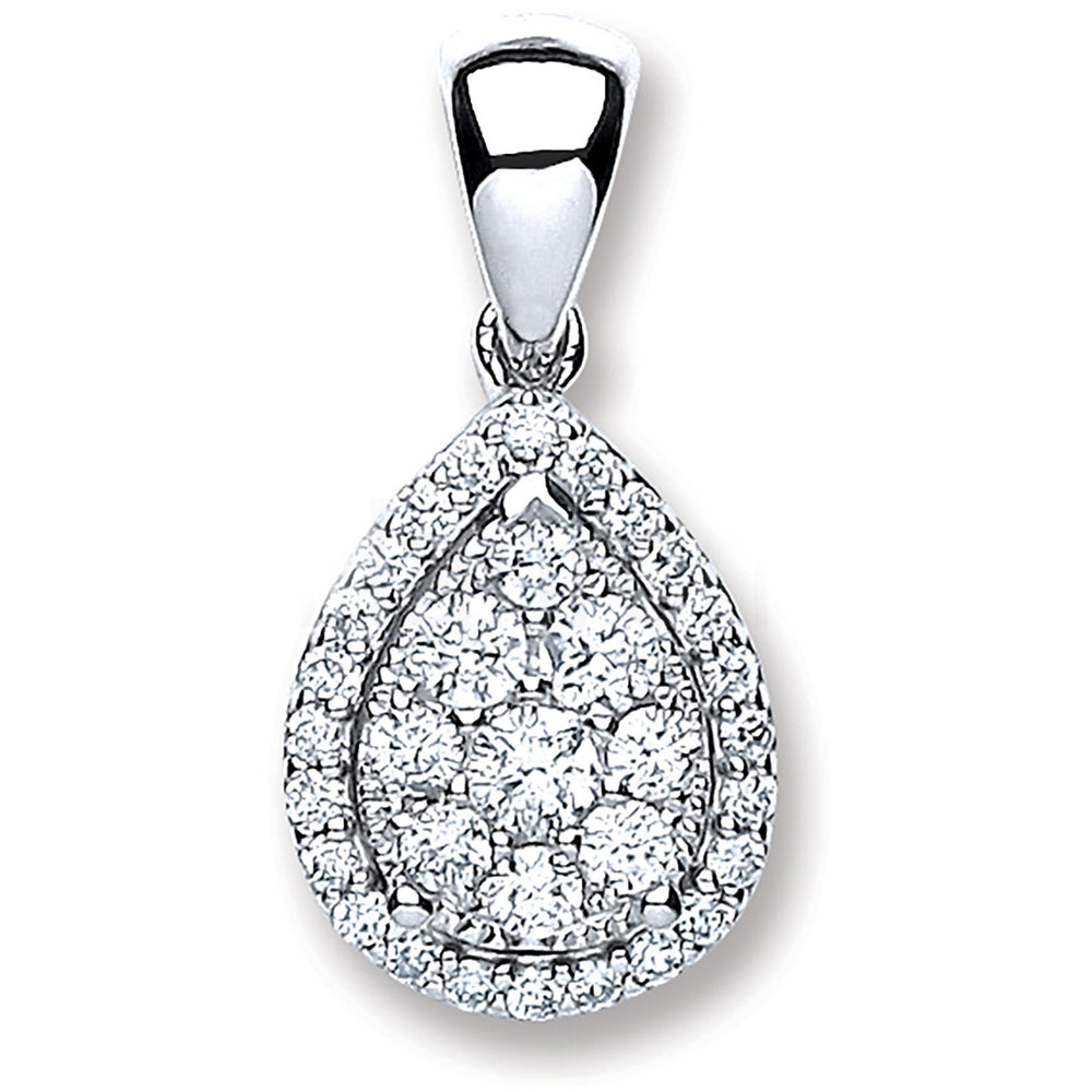 18ct White Gold 0.40ct Diamond Pear Shape Pendant