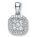 18ct White Gold 0.20ct Diamond Square Pendant