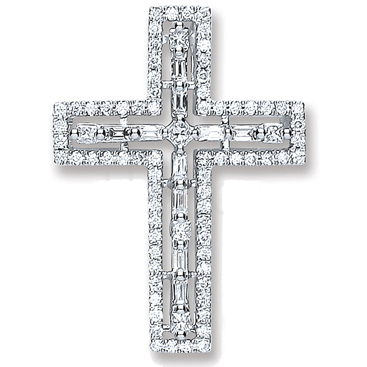 18ct White Gold 0.50ct Baguette & Brilliant Cut Diamond Cross Pendant