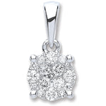 18ct White Gold 0.25ct Diamond Cluster Pendant