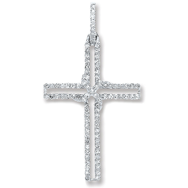 9ct White Gold 0.25ct Diamond Cross Pendant