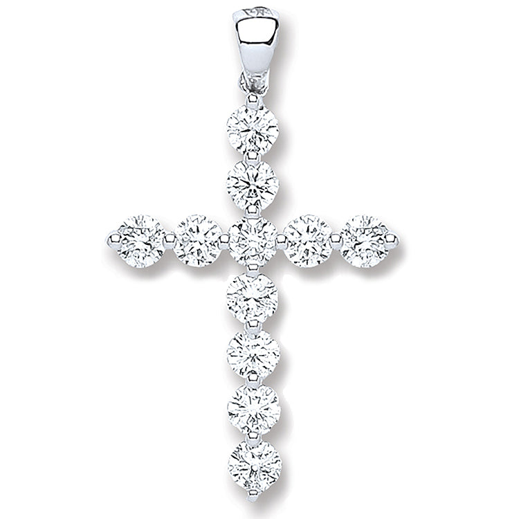 18ct White Gold 0.70ct Diamond Cross Pendant