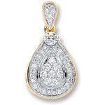 9ct Yellow Gold 0.25ct Diamond Drop Pendant