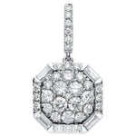 18ct White Gold 1.00ct Brilliant & Baguette Cut diamond pendant