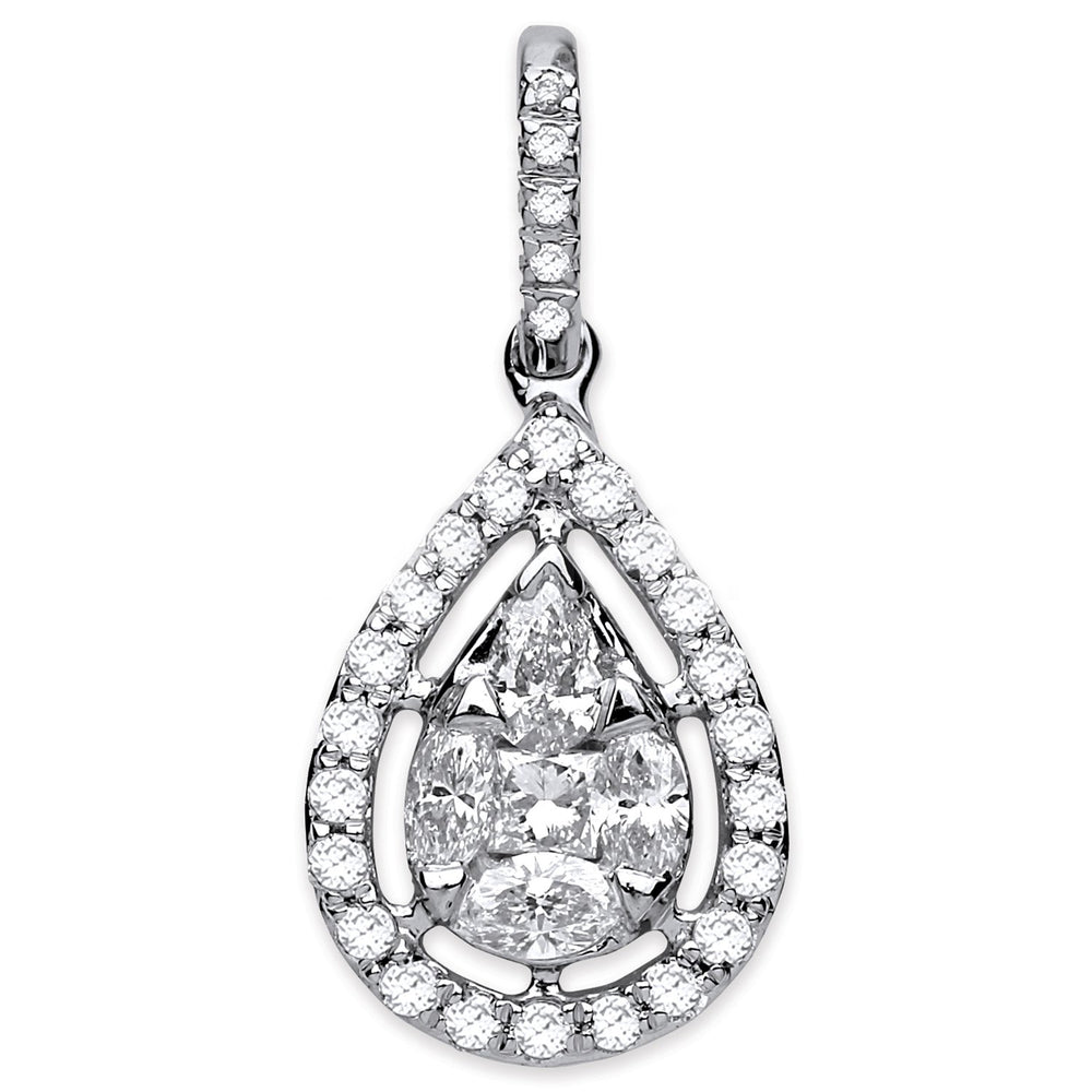 18ct White Gold 0.55ct Pear Shaped Pendant