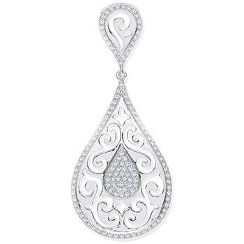 9ct White Gold 0.25ct Pear Shaped Diamond Pendant