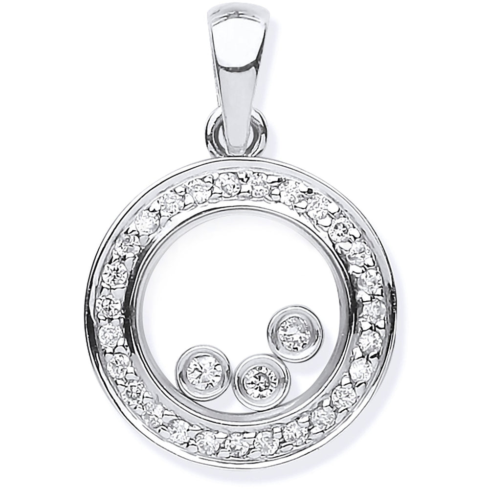 9ct White Gold 0.12ct Floating Diamond Pendant