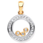 9ct Yellow Gold 0.12ct Floating Diamond Pendant