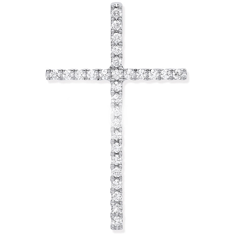 18ct White Gold 0.35ctw Diamond Set Cross