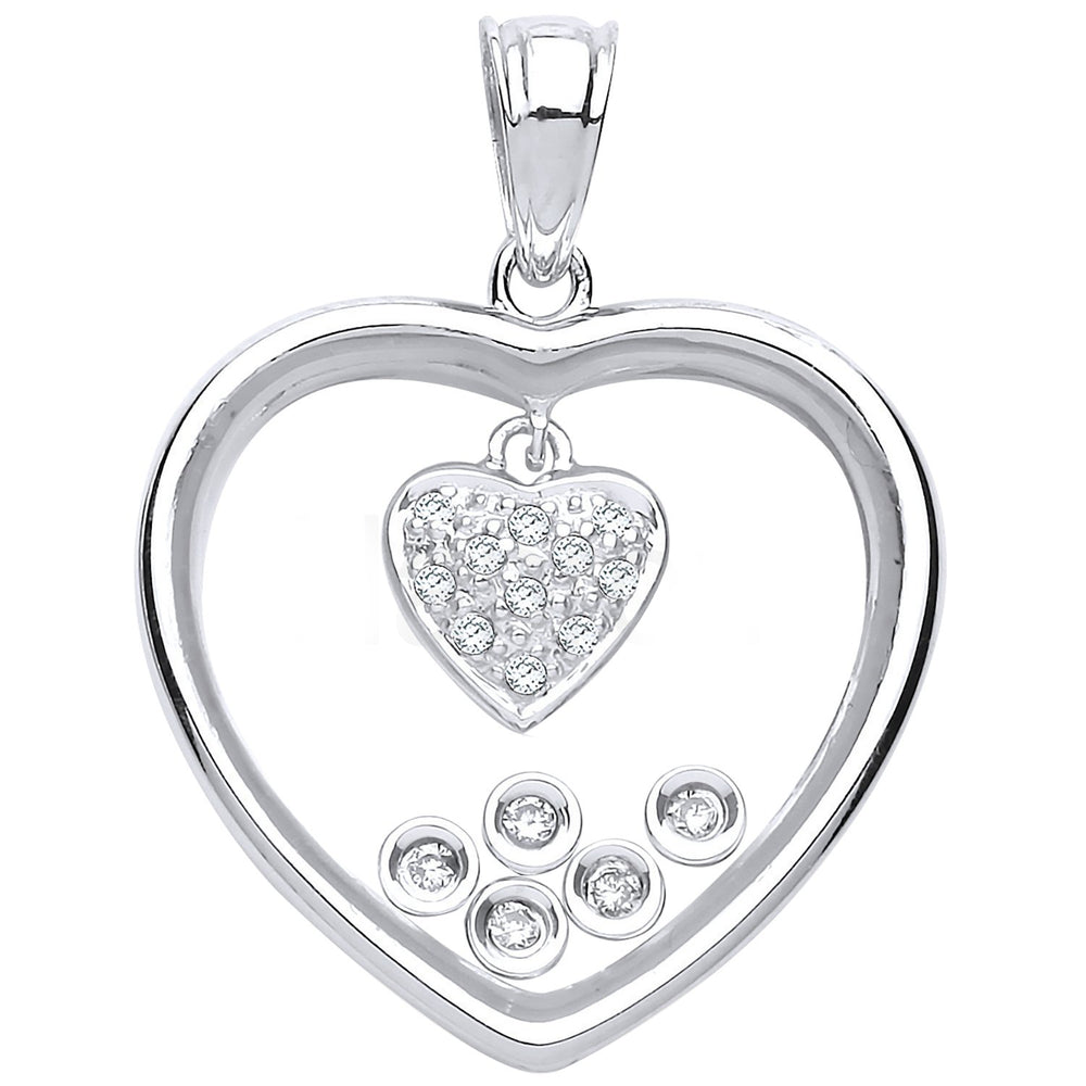 9ct White Gold Floating 0.11ct Diamonds in Heart Pendant