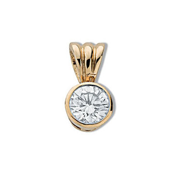 18ct Yellow Gold 0.50ct Rubover Set Diamond Pendant