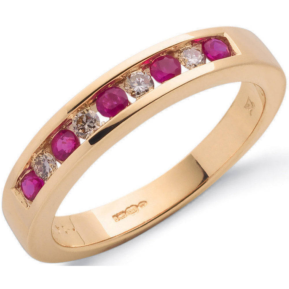 9ct Yellow Gold 0.14ct Diamond & 0.31ct Ruby Eternity Ring